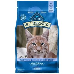 Blue Buffalo Wilderness Indoor Chicken Recipe Grain-Free Dry Cat Food, 5-lb Bag.