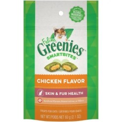 Greenies Feline SmartBites Healthy Skin & Fur Chicken Flavor Cat Treats, 2.1-oz Bag.
