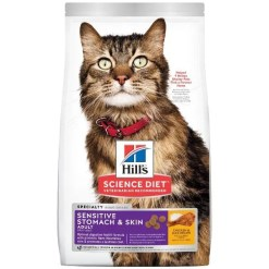 Hill's Science Diet Adult Sensitive Stomach & Skin Chicken & Rice Recipe Dry Cat Food, 3.5-lb Bag.