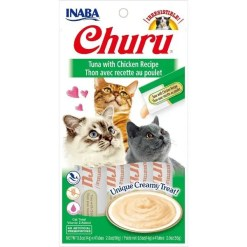 Inaba Churu Grain-Free Tuna with Chicken Puree Lickable Cat Treat, 4 Tube Pack.
