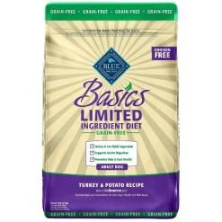 Blue Buffalo Basics Limited Ingredient Grain-Free Formula Turkey & Potato Recipe Adult Dry Dog Food, 24-lb Bag.