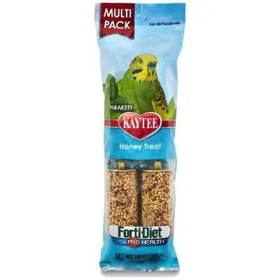 Kaytee Forti Diet Pro Health Honey Parakeet Treat Sticks, 4 Pack.
