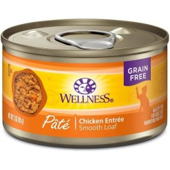 Wellness Complete Health Pate Chicken Entree Grain-Free Canned Cat Food, 3-oz Can.