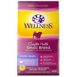 Wellness Small Breed Complete Health Adult Healthy Weight Turkey & Brown Rice Recipe Dry Dog Food, 4-lb Bag.