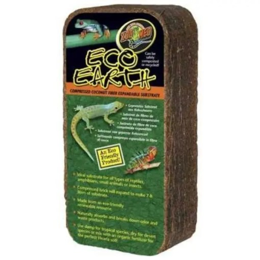 Zoo Med Eco Earth Compressed Coconut Fiber Reptile Substrate, Single Brick.