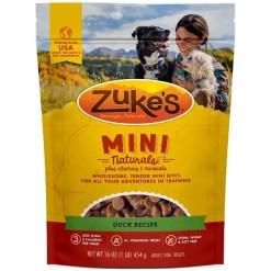 Zuke's Mini Naturals Duck Recipe Training Dog Treats, 1-lb Bag.