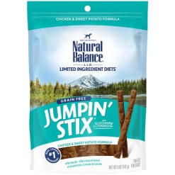 Natural Balance Limited Ingredient Diets Jumpin' Stix Chicken & Sweet Potato Formula Dog Treats, 5-oz Bag.