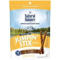 Natural Balance Limited Ingredient Diets Jumpin' Stix Duck & Potato Formula Dog Treats, 5-oz Bag.