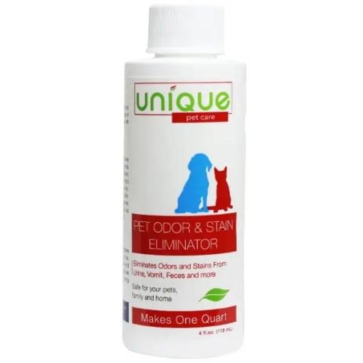 Unique Pet Odor and Stain Eliminator Concentrate, 4-oz Bottle.