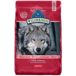Blue Buffalo Wilderness Salmon Recipe Grain-Free Dry Dog Food, 24-lb Bag.