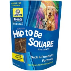 Lucy Pet Products Hip To Be Square Duck & Pumpkin Formula Grain-Free Dog Treats, 6-oz Bag.