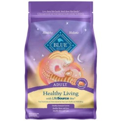 Blue Buffalo Healthy Living Chicken & Brown Rice Recipe Adult Dry Cat Food, 7-lb Bag.