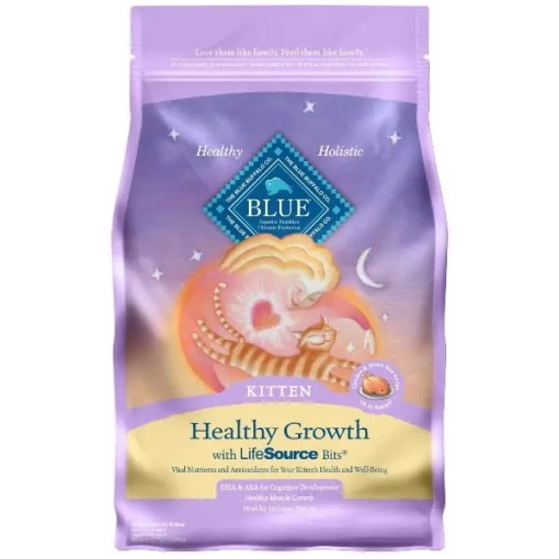 Blue Buffalo Healthy Growth Kitten Chicken & Brown Rice Recipe Dry Cat Food, 7-lb Bag.