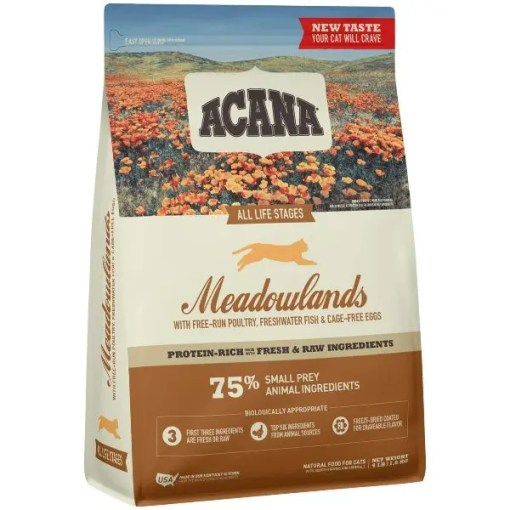 Acana All Life Stage Meadowland Cat Dry Food, 4-lb Bag.