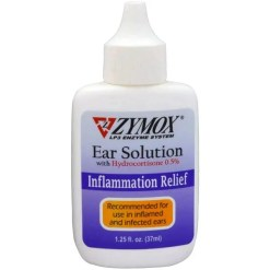Zymox Ear Solution with .5% Hydrocortisone for Dogs & Cats, 1.25-oz Bottle.
