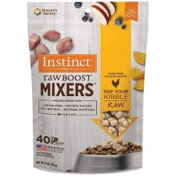 Instinct Raw Boost Mixers Chicken Recipe Grain-Free Freeze-Dried Cat Food Topper, 6-oz Bag.