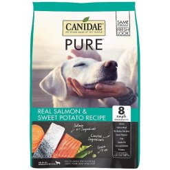 CANIDAE Grain-Free PURE Real Salmon & Sweet Potato Recipe Dry Dog Food, 4-lb Bag.
