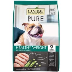 CANIDAE Grain-Free PURE Healthy Weight Real Chicken & Pea Recipe Dry Dog Food, 4-lb Bag.