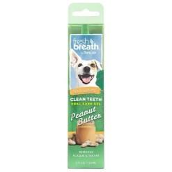 TropiClean Fresh Breath Clean Teeth Peanut Butter Oral Care Gel, 2-oz Bottle.