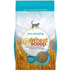 SWheat Scoop Natural Unscented Clumping Wheat Cat Litter, 25-lb Bag.