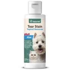 NaturVet Tear Stain Remover Dog & Cat Topical Liquid, 4-oz Bottle.