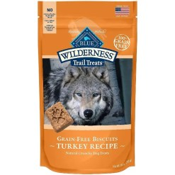Blue Buffalo Wilderness Trail Treats Turkey Biscuits Grain-Free Dog Treats, 10-oz Bag.