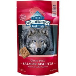 Blue Buffalo Wilderness Trail Treats Salmon Biscuits Grain-Free Dog Treats, 10-oz Bag.
