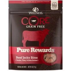 Wellness CORE Pure Rewards Grain-Free Beef Jerky Bits Dog Treats, 4-oz Bag.