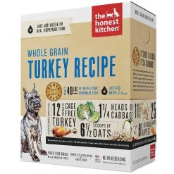 The Honest Kitchen Whole Grain Turkey Recipe Dehydrated Dog Food, 10-lb Box, Makes 40-lb of Food.