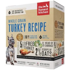 The Honest Kitchen Whole Grain Turkey Recipe Dehydrated Dog Food, 4-lb Box, Makes 16-lb of Food.
