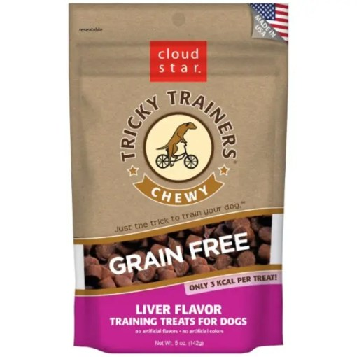 Tricky Trainers Chewy Grain Free Liver Flavor Dog Treats, 5-oz Bag.