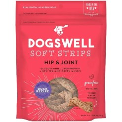 Dogswell Soft Strips Hip & Joint Duck Recipe Grain-Free Dog Treats, 10-oz Bag.