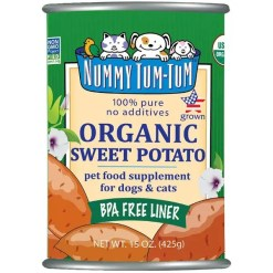 Nummy Tum-Tum Pure Organic Sweet Potato Canned Dog & Cat Food Supplement, 15-oz Can.