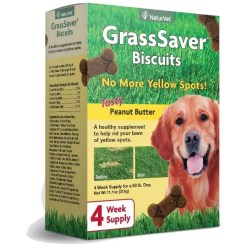 NaturVet GrassSaver Biscuits Peanut Butter Flavored Dog Treats, 11.1-oz Box.
