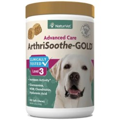 NaturVet ArthriSoothe Gold Level 3 Dog & Cat Soft Chews, 180 Count.