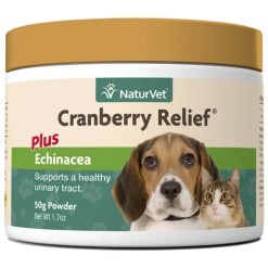 NaturVet Cranberry Relief Urinary Support Dog & Cat Powder Supplement, 50-g Jar.