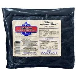Halshan Premium Raw Food Frozen Whole Ground Beef with Bone Pet Food, 1-lb.