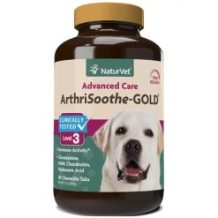 NaturVet ArthriSoothe-GOLD Hip & Joint Stage 3 Advanced Formula Dog & Cat Tablets, 40 Count.