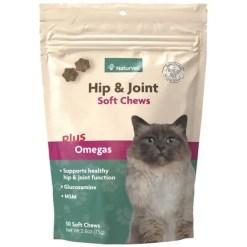 NaturVet Hip & Joint Plus Omegas Cat Soft Chews, 50-Count.