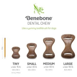 Benebone Dental Chew Size Chart. Tiny, Under 15 lbs, 3.8 by 2.8 inches. Small, Under 30 lbs, 5.5 by 3.5 inches. Medium, Under 60 lbs, 7.5 by 4.4 inches. Large, Under 90 lbs, 8.3 by 4.5 inches.