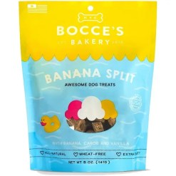 Bocce's Bakery Burgers & Fries Beef, Sweet Potatoes & Cheese Dog Treats, 5-oz Bag.