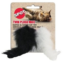Ethical Pet Spot Twin Plush Mice Rattle & Catnip Cat Toy, 2 Pack.