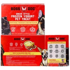 Boss Dog Greek Style Cheddar & Bacon Frozen Yogurt Pet Treat, 4 Pack of 3.5-oz Cups.