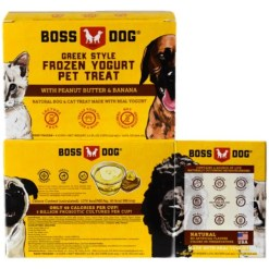 Boss Dog Greek Style Frozen Yogurt Pet Treat, 4 Pack of 3.5-oz Cups.
