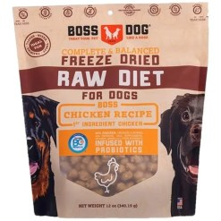 Boss Dog Freeze Dried Raw Diet Chicken Recipe Dog Food, 12-oz.