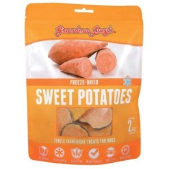 Grandma Lucy's Freeze-Dried Singles Sweet Potatoes Dog Treats, 2-oz Bag.