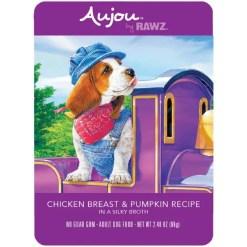 RAWZ Aujou Chicken Breast & Pumpkin Wet Dog Food, 2.46-oz, Case of 8 Pouches.