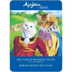 RAWZ Aujou Aku Tuna & Mackerel Wet Cat Food, 2.46-oz, Case of 8 Pouches.