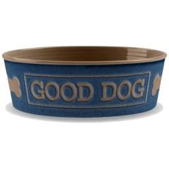 TarHong Good Dog Melamine Pet Bowl, Indigo