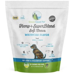 Green Coast Pet Whitefish Flavor Hemp + SuperBlend Soft Chews for Dogs, 30 Count SKU 6912100040